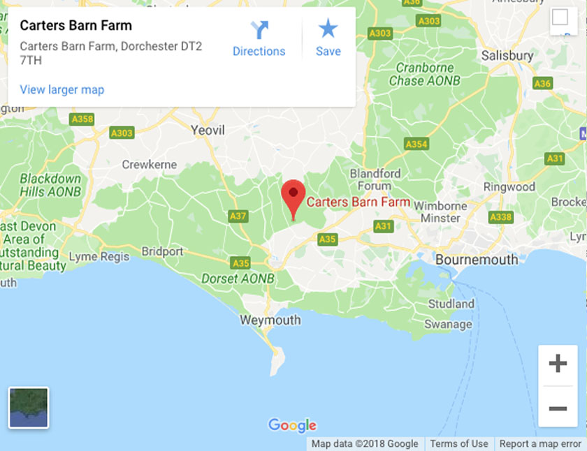 Google Map of Carters Barn Farm, Piddlehinton, Dorset, DT2 7TH
